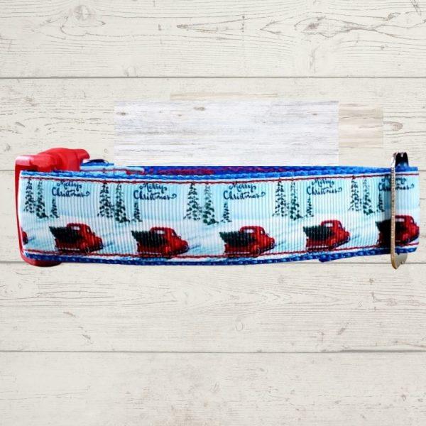 Little Red Truck Wintery Dog Collar
