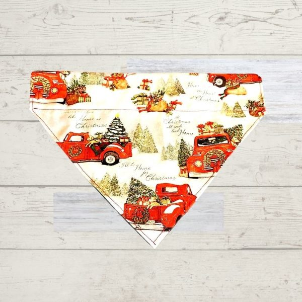 Little Red Truck with Dog Bandana
