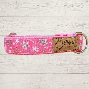 Snowflakes Falling Pink Dog Collar