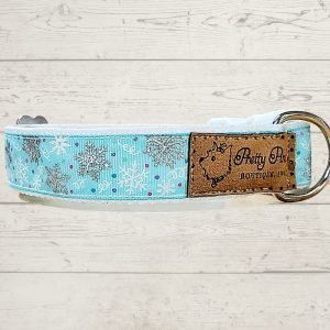 Snowflakes Falling Blue Dog Collar
