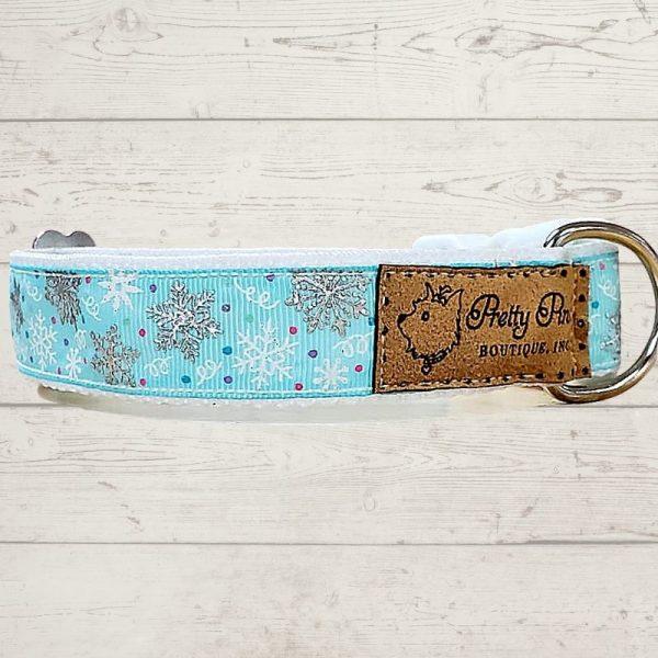 Snowflakes Falling Blue Dog Collar