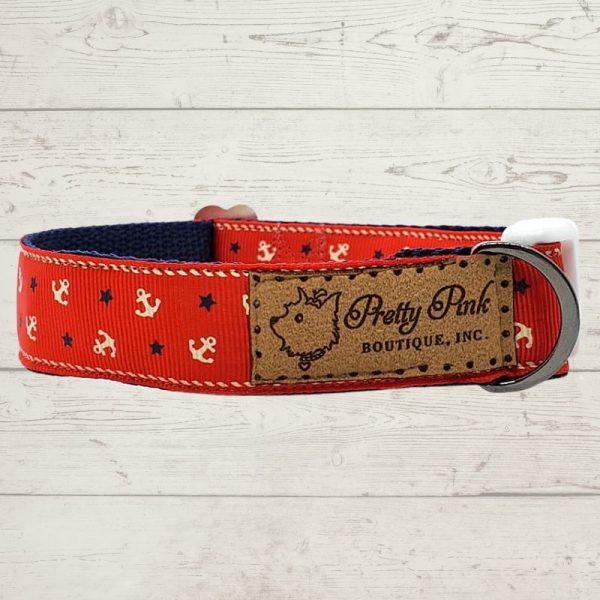 Red Nautical Dog Collar