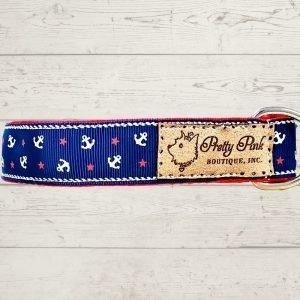 Navy Nautical Dog Collar
